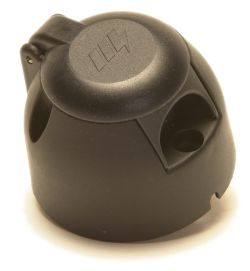 Trailer Socket - 7 pin (12n) Socket: Black with fog cut-out